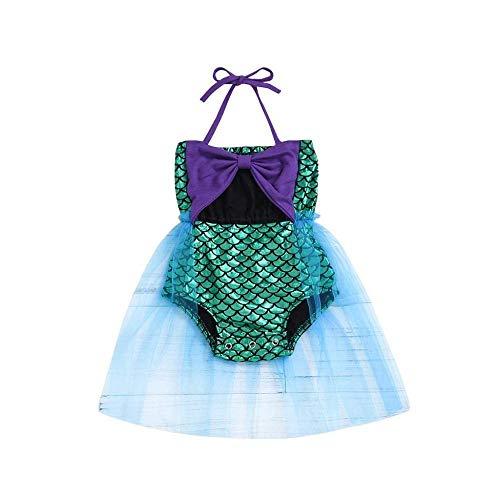 rumiao 0-2Years Kleinkind-Baby-Bikini-Strand-Bogen-Knoten-Hosenträger-Spielanzug-Badeanzug-Kleid-Badebekleidung,Purple-3-6Months (Mo Badeanzug 3)