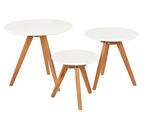 ts-ideen 3er Set Design Occasionnel Table Basse Ronde en chêne café Blanc Chevet