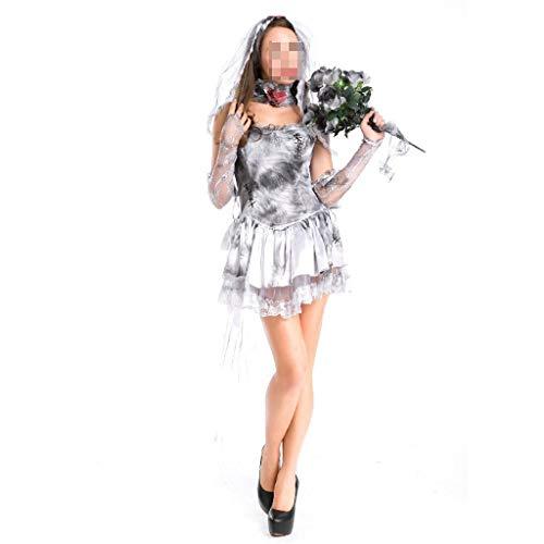 Ghost Für Kostüm Erwachsene Damen Bride - Mesh Dark Ghost Bride Rock Halloween Erwachsenen Damen Kurzer Rock Maskerade Cosplay Party Performance Kostüm Kopfbedeckung (Color : Gray)