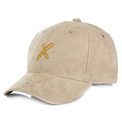 YanLong Herbst Winter X Buchstaben Stickerei Wildleder einfache Outdoor Entenzunge Baseballmütze Khaki Crown Visor Beanie Khaki