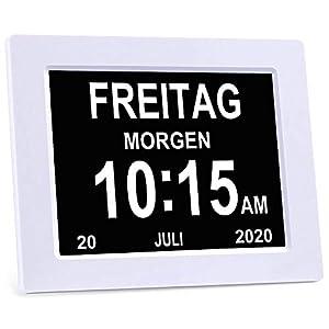 YAXING/DC801/Seniorenuhr 8 Zoll. Digitale Kalender und Seniorenuhr  Foto-Funktion – Digitale Uhr, Wecker, Kalender für Senioren & Demenzkranke (z.B. Alzheimer) mit Erinnerungsfunktion