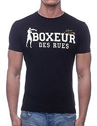 Boxeur Des Rues Sèrie Exclusive, T-Shirt Logo Bandiera Francese Uomo, Nero, L