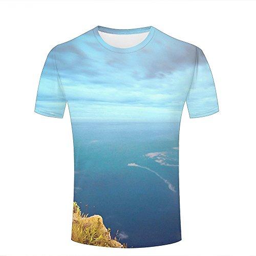 Herren Crewneck 3D Print T-Shirt Splendid sea Under Mountain Creative Graphic Short Sleeve Tee Top Shirts S (Folie Animal Top Print)