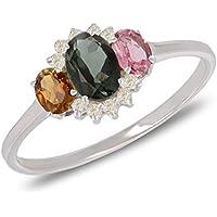 Gift Woman Engagement-Unique Piece Size Q-Precious stones-Ring-Tourmaline-Diamonds-Silver-Woman
