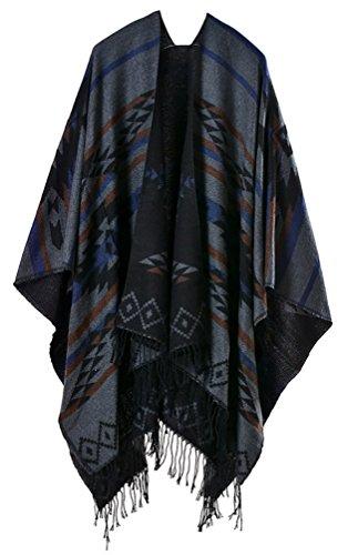 Donna Poncho E Mantelle Knitted Eleganti Vintage Geometrie Pattern Tassels Etno-Style Inverno Reversibile Calda Cachemire Grandi Scialle Mantellina Cardigan Cappotto Nero