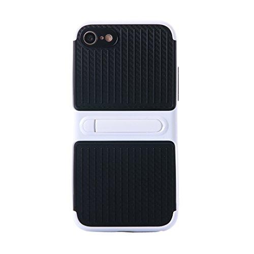 IPhone 6 u. 6s Fall hockproof TPU + PC schützender Fall mit Halter für iPhone 6 u. 6s by diebelleu ( Color : Grey ) White