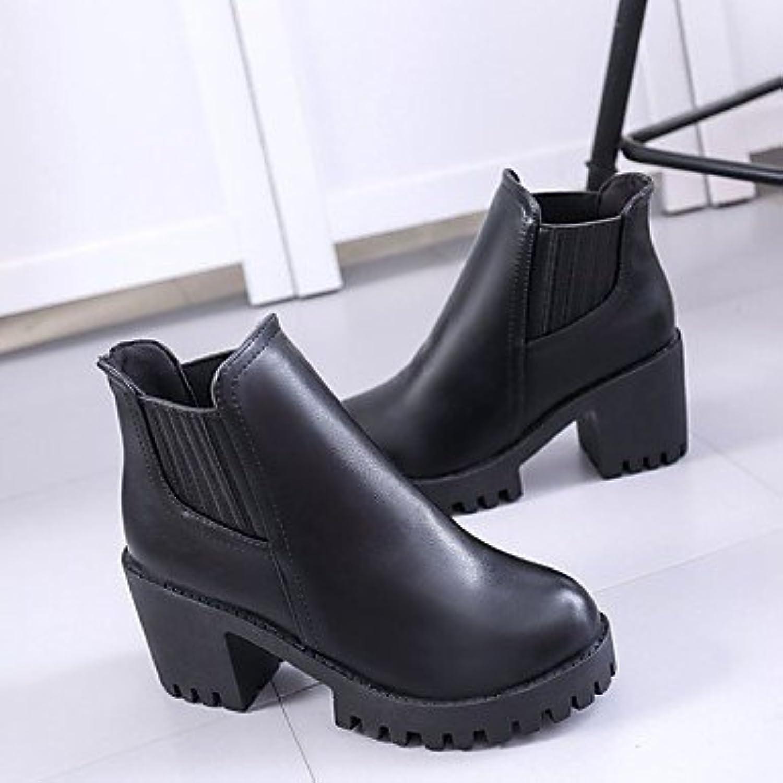 RTRY Zapatos De Mujer Pu Caída De La Moda Botas Botas Chunky Talón Puntera Redonda Gore For Casual Gris Negro...