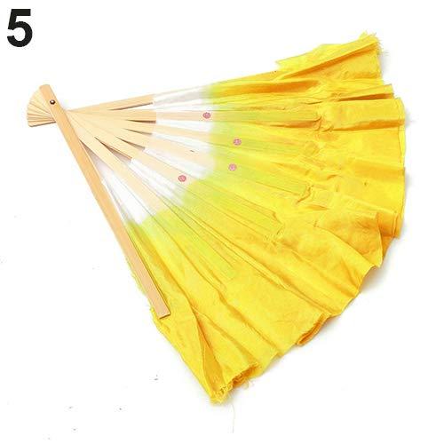 Folk Kostüm Tanz - Kuizhiren1 Handgefertigter Seide Fans Tanz, chinesischer Stil, handgefertigter Bambus-Griff, Kunstseide, Volkskunst, gelb, 0.6m by 0.425m