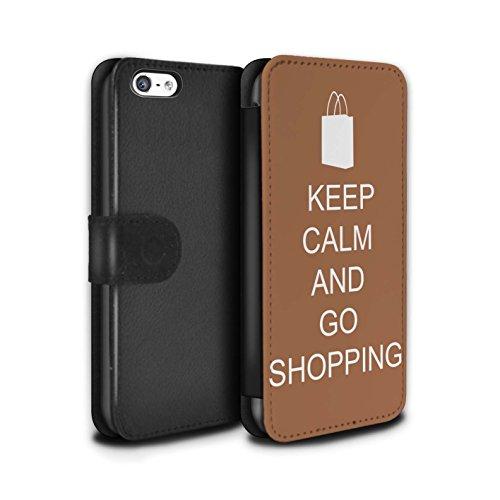Stuff4 Coque/Etui/Housse Cuir PU Case/Cover pour Apple iPhone 5C / Pousser Moustache/Vert Design / Reste Calme Collection Faire du Shopping/Brun
