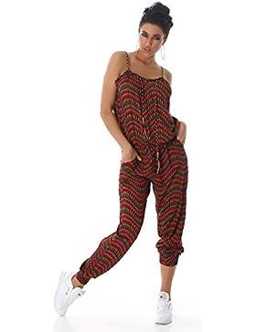 Jela London Damen leicht Jumpsuit Overall Hosenanzug Einteiler verschiedene Farben und Muster Einheitsgröße (passend...