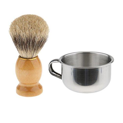 MagiDeal Coupe Bol de Savon à Barbe en Acier Inoxydable + Vintage Blaireau de Rasage en Poils de Sangliers - Outil de Rasage pour Homme