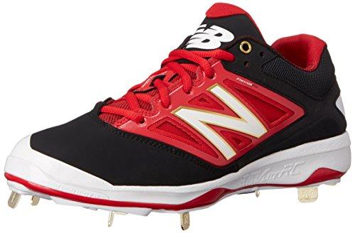 buy popular d81a8 13e91 New Balance Hombre L4040V3 Cleat Baseball Shoe, Black Red, 45 EU