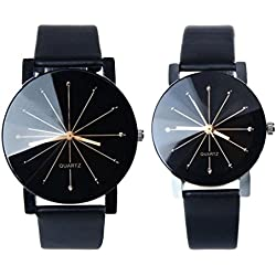 Koly 1Pair Men and Women Quartz Dial Clock Leather Wrist Watch Round Case Couple Watch Black