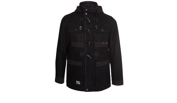 Men/'s Dissident Leather Look Biker Jacket Coat Full Zip Hooded /'Darboux/' 1J5016
