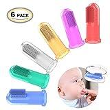 Ozuar - Kit da 6 spazzolini da denti per neonati, morbidi, in silicone, con setole in gomma e confezione per il trasporto