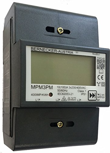 MPM3PM, ModBus, LOXONE openWB, Energiemessgerät 3 Phasig 400V 100A direkt (10A Ib), digitaler Stromzähler Drehstromzähler für DIN Hutschiene, Dualdisplay, 70mm 4TE, S0, Import Export Absolut Zähler