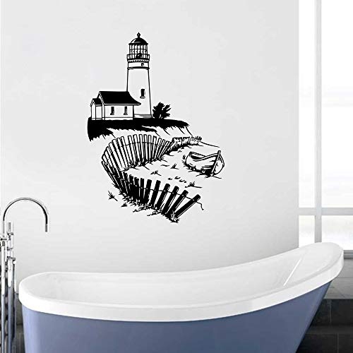WWYJN Lighthouse Wall Mural Seaside Beach Wall Vinyl Decal Nautical Interior Home Decor Removable Bathroom Marine Wall Sticker White 57x80cm