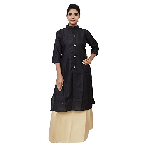 Kieana Women Raw Silk Plain Kurti With Kundan Work Button And Stand Button | Designer Trending Casual Party Wear Kurta | Attractive and Beautifull Bollywood Style Kurtis For Woman | Latest Collection Of Premium High Quality Ethnic Wears For Girls Ladies