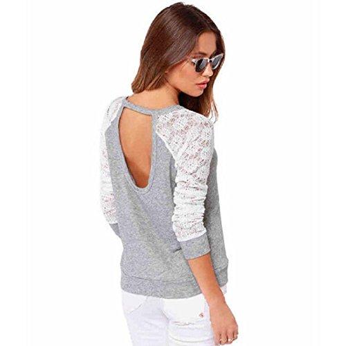 Tops Mujer, Amlaiworld Ganchillo manga larga blusa de encaje sin espalda bordada (XL)