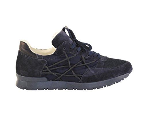 Scarpe Sneakers L4K3 LAKE Unisex Mr BIG Cube Nylon Camoscio Pelle Blu (40 EU)