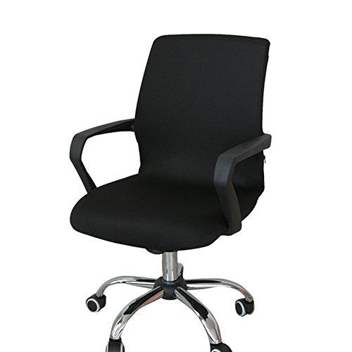 Lembeauty Tessuto elastico girante della sedia elasticizzato rimovibile Resilient fodera coprisedia, rivestimento per sedia poltrona ufficio computer (cover Only, no sedie), Tessuto, Nero, small