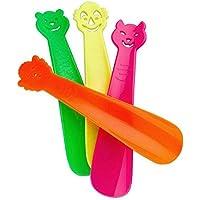 Lantelme 3108 4 pcs bambini calzascarpe - Scarpa cucchiaio Set, produzione tedesca in plastica nei colori verde, giallo, viola e arancione