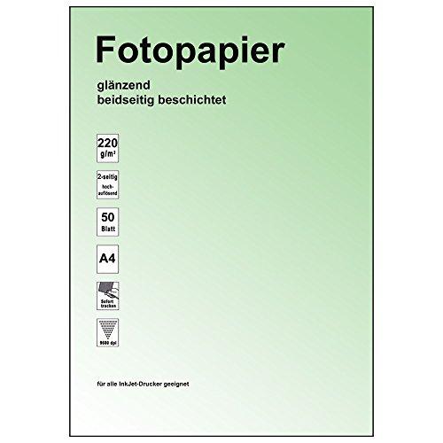 Ramette de 100 feuilles de papier photo brillant 2 faces 9600dpi brillant, 220 g/m² nouveau : a4/2 faces pour double photo, séchage rapide-indice de blancheur élevé-bonne qualité