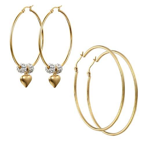 Oidea 2pcs Damen Creolen Ohrringe Gold, Mode Runde Groß Ohrhänger Ohrschmuck mit Herz Anhänger , Durchmesser 50mm 63mm