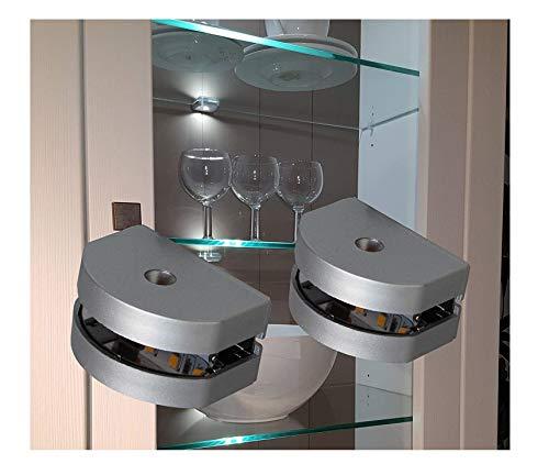 LED 3-Seiten Glasbodenbeleuchtung Glaskantenbeleuchtung 2-er Set mit Möbeltrafo warm weiß / Art. 2295-2/4189-6W / LED Möbelbeleuchtung Schrankleuchten