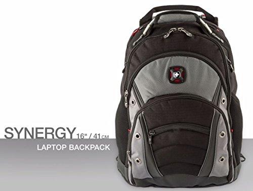 """Wenger 600635 Synergy 16"""" Laptop-Rucksack, gepolsterte Laptopfach mit iPad/Tablet / eReader Tasche in schwarz / grau {26 Liter}"""
