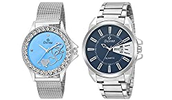 Gionee MRT-0142 Stainless Steel Analog Wrist Watch / Casual Watch Combo Pack - For Men & Women (Pack of 2) - Couple Watch Series, Best for Anniversary Gift, Birthday Gift, Love Band, Wedding Gift & For All Special Occasion Gift