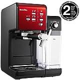 Breville PrimaLatte II Kaffee- und Espressomaschine VFC109X-01, 19 bar, für Kaffeepulver oder Pads geeignet, Integrierter automatischer Milchschäumer, schwarz/rot