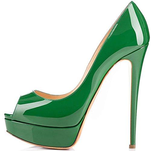 ELASHE - Zapatos para mujer - Tacón de aguja -15CM Peep Toe - 3CM Plataforma Tacones Mujer Fiestas Oficina Verde EU40