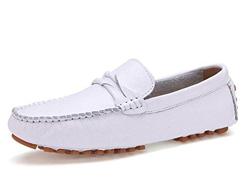 Mocassini Peep Toe Slip-Ons Bassa Top Modo antisdrucciolevole Confortevole Soft Soles Tempo libero Casual Uomo Scarpe UE Taglia 39-44 White