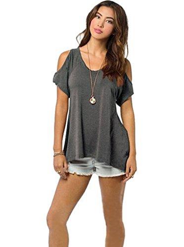 Damen Tops Sommer Loose Kurzarm V-Ausschnitt Shirt Hemd Bluse T-Shirt (Tank Baseball-ribbed Top)