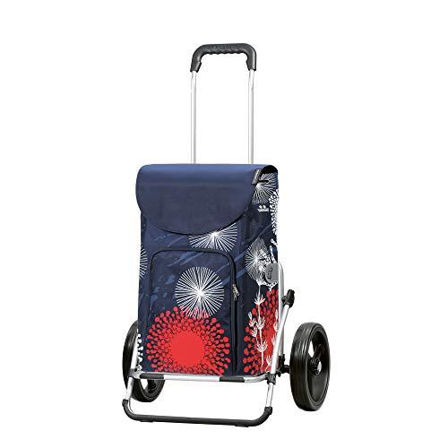 Andersen Einkaufstrolley Royal XXL klappbar mit 3-Speichenrad 25 cm und 41 Liter Einkaufstasche Lily mit Kühlfach blau/rot/weiß