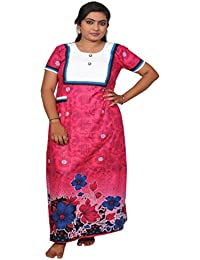 AISNIGHA Womens rose Print Cotton Nighty A05065 | Womens Soft and Comfortable Nightgown for Straight-Fit | Ladies Nighty Set | High-Quality Nightwear for Everyday Use – Large | XL | XXL | stylish piece of ladies nighty that is ultra-soft and durable | Made from best quality materials | comes under best price