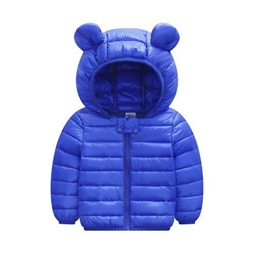 Livoral Kinder Jungen Mädchen Wintermäntel Jacke Kinder Reißverschluss Dicke Ohren Schnee Kapuze Outwear(A-Blau,80)