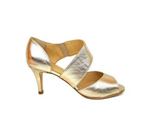 Gennia Indiana - Damen Sandalen mit Absatz, Metallic Leder Galaxy Estrella (Gold), Gröbe 35 Indiana Leder