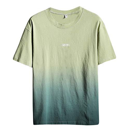 Eaylis Herren T-Shirt Atmungsaktives, KurzäRmliges Hemd Aus Baumwolle Und Leinen Mit Farbverlauf