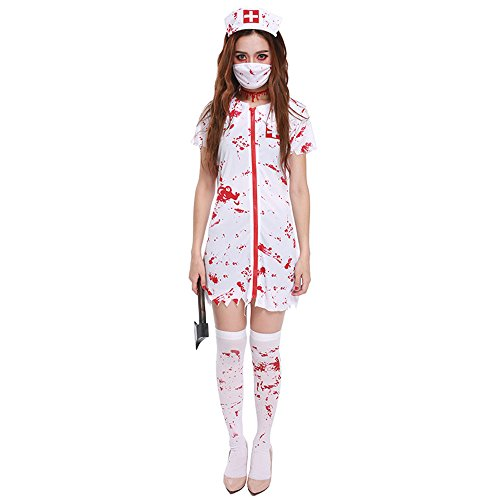 Krankenschwester Kostüm Weibliche - QAR Halloween Ghost Festival Horror Blutige Krankenschwester Kostüm Blut Erwachsene Weibliche Krankenschwester Arzt Kleidung Damenbekleidung (größe : M)