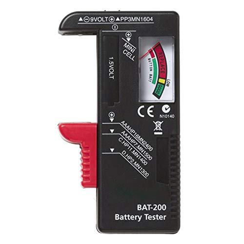ZahuihuiM Batterietester Universal Batterie und Akku Testgerät mit LCD-Display mit Knopfzellen Test Batterie Tester Pruefer Batterie Pruefgeraet für AAA, AA, C, D, 1.5V, 9V und Andere Batterie (Freie Größe, Schwarz)