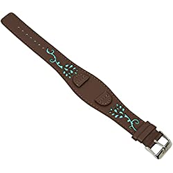 Replacement Pad Leather Watch Strap Band 14mm Brown/Turquoise Matches S. Oliver 2877/LQ