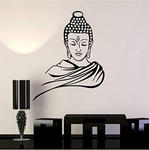 wuyyii 58X46 CM Wandaufkleber Vinyl Aufkleber Buddha Religion Buddhismus Meditation Zitat Abnehmbare Kunst Wohnkultur wohnzimmer Wandtattoos