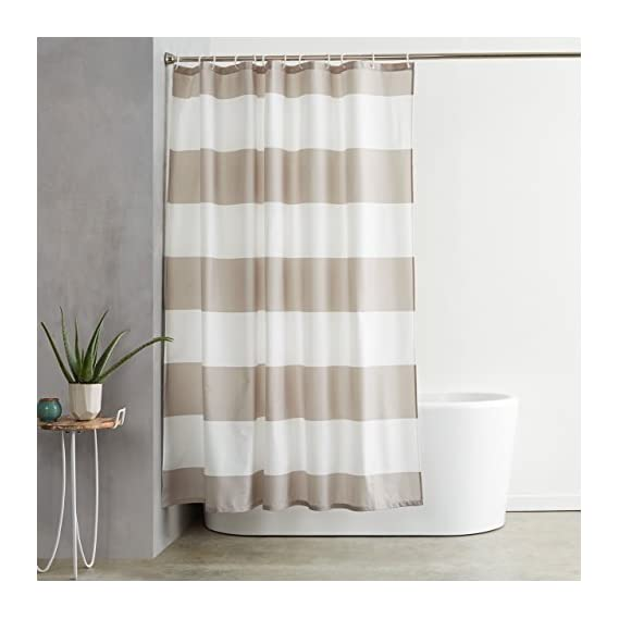 AmazonBasics Water Repellant Shower Curtain with Hooks - 72 x 72, Gray Stripe