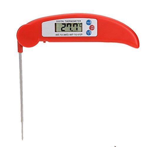 Lookthenbuy pieghevole digitale lcd termometro da cucina food meat bbq red
