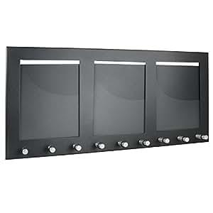 hmf schl sselbrett mit 3 fotorahmen und 9 schl sselhaken schwarz b robedarf. Black Bedroom Furniture Sets. Home Design Ideas