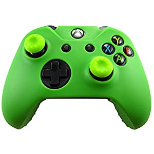 Pandaren Silikon hülle skin Schutzhülle für Xbox One controller (grün) x 1 + thumb grip aufsätze x 2