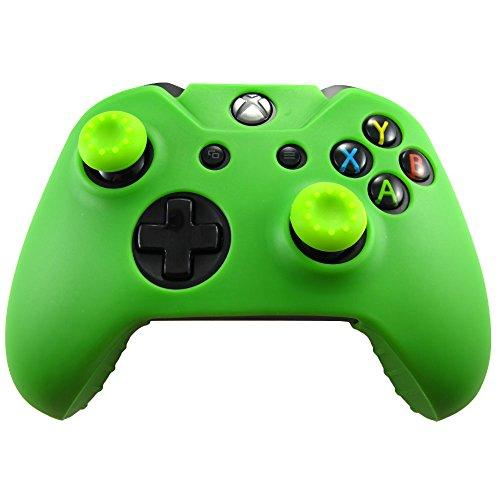 Grüner Passen Haut (Pandaren® Silikon hülle skin Schutzhülle für Xbox One controller (grün) x 1 + thumb grip aufsätze x)