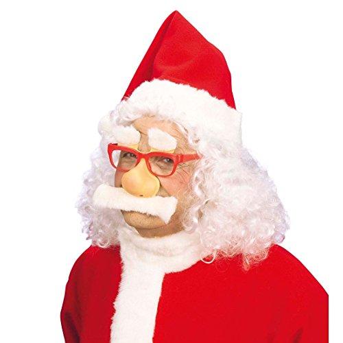 NET TOYS Set Weihnachtsmann Maske aus Brille Nase Schnurrbart Augenbrauen Nikolaus Brille Nase Bart Santa Claus Nikolaus Verkleidung Masken Set Weihnachtsmannmaske